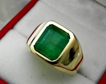 AAAA Emerald  10x9mm  3.53 Carats   Heavy 14K Yellow gold Emerald cut Mans  ring 15-16 grams 1766