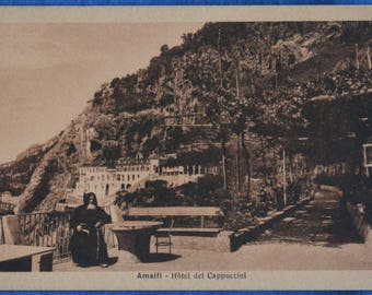 Amalfi Italy Hotel del Cappuccini Antique Black and White Unused Postcard