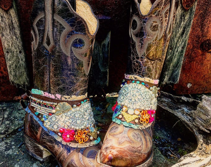 Custom Sparkling Bohemian Boot Wraps, Boot Jewelry, Boho Treasure, Tattered Lace, Jewels, Wearable Art, Magical, Fairy Tale ~ Made to Order