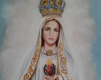 "Our Lady of Fatima, 16"" X  20"" Oringinal Arcylic Painting OOAK Painting of the Mother of God, Mother of Our Savior Catholic Art, signed"
