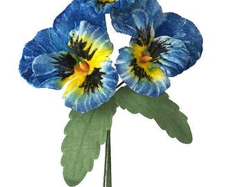 Spray of Large Blue and Yellow Velvet Pansies ~ Czech Republic  NFC 047-BY