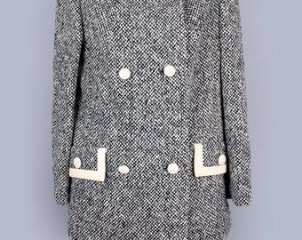 1960's Lilli Ann MOD Black & White Vintage Blazer Jacket