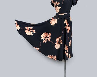 1940's Black Rose Print Swing Dress WWII Era