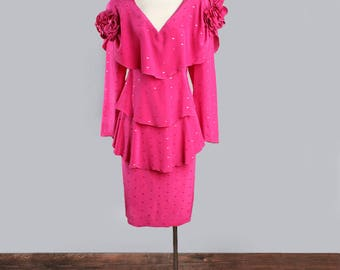 1980's Designer HOLLY HARP Pink Silk Vintage Dress - Couture, Stevie Nicks Bohemian Style, MEDIUM