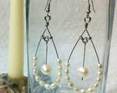 Pearl and Steel Earrings, One of a Kind