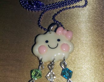 Happy Cloud with Sparkly Raindrops. Super kawaii NECKLACE