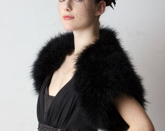 Promo Sale: SALE 20% Off - Black Marabou  Feather  Bolero/ size S