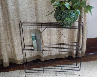 Vintage Wire 3 Shelf Stand • Mid Century Large Wire Book Shelf  • Modern Wire Bookshelf Shelf Stand