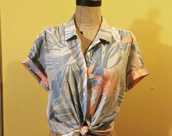 Tropical, Hawaiian, pastel button-up. Size medium large