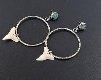 Turquoise Sharks Tooth Hoop Earrings, boho, bohemian, hoops, hoop earrings, sterling silver, turquoise silver, sharks tooth earrings