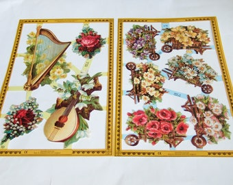 Victorian Flower & Musical Instruments Scraps - Two Vintage Mamelok Press Scrap Sheets with Images of Harp, Lute and Flower Barrows