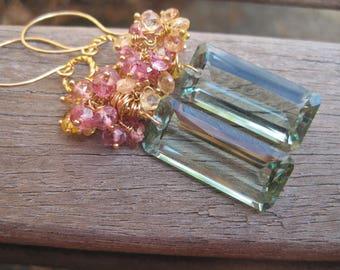 Sea Escape Earrings - Green Amethyst, Imperial Topaz, Pink Topaz, Yellow Sapphire, Gold Earrings