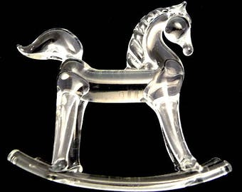 Crystal Glass Rocking Horse Late 1950s Deco Era Styled Art Glass