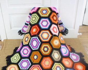 Vintage Hexagon Afghan, Vintage Blanket, Vintage Colorful Afghan, Rainbow Afghan, Vintage Throw, Vintage Colorful Afghan, Bright Afghan