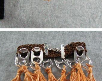 Bracelet - Brown Pop Tab Bracelet with Golden Mix Tassels - Crochet Bracelet - Pop Tab Jewelry - Tassel Bracelet