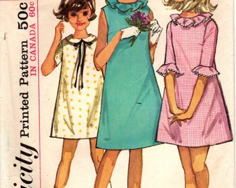 1960s Simplicity 5902 Vintage Sewing Pattern Girls A-line Dress, One Piece Dress, Party Dress Size 14