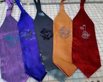 "Steampunk Cravat - Dapper Groom Men's Ascot Embroidered Silk Handmade- Western Victorian Cowboy ""KMK Embroidered Cravat"" -Custom to Order"