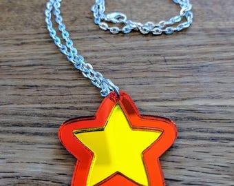 Steven Universe Star, Mirrored Geekstar Geek Necklace, Crystal Gem Jewelry