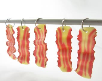 Bacon Charm 5, Bacon stitch markers, food stitch markers, miniature food charm, knitting accessories, bacon gift for knitters, polymer clay