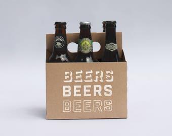 Beers Beers Beers 6-Pack Kraft Cardboard Craft Beer Carriers | Beer Tote | Beer Caddy | Beer Holder | Beer Gift
