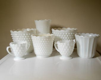 Varied milk glass collection - 7 pieces
