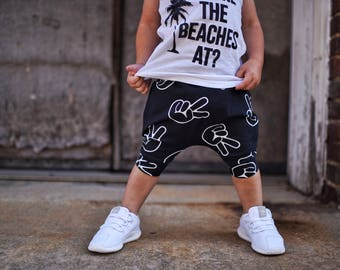 PEACE - TWO! Black and White Peace Hands Print, Toddler Baby Boy Girl, Two Year Old Birthday Outfit, Toddler Harem Shorts: Etsy kid's fashio