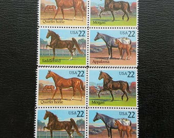 Vintage unused postage stamps - horses, 22 cent stamps, set of eight (8)