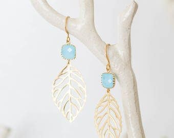 Ocean blue leaf Earrings | Gold | Dangle | blue, filigree, nature, beach-inspired,  blue glass, charm jewelry | Handmade in Santa Cruz