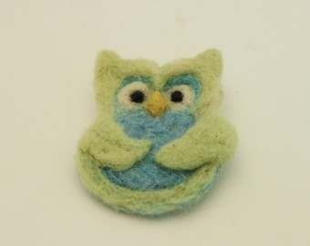 Owl, Needle Felted Owl   Pin, Felted OOwl Brooch, # 2627