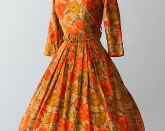 Vintage 1950s Dress - Classic 50s Dolly Myers Cotton Floral Watercolor Abstract Print Dress, Autumn Flowers, Full Skirt // Waist 28