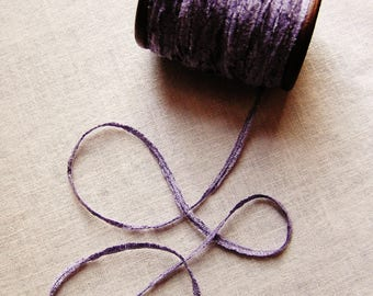 Lavender rayon Chenille Ribbon on a Hand painted espresso wooden spool