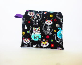 Dios De La Muerte Cat Reusable Sandwich Bag - Girls Snack Bag - Back to School Lunch Bag Food Safe Wet Bag Waterproof Sandwich Zipper Bag