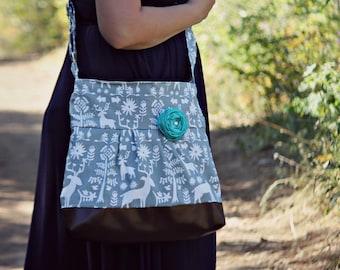 Messenger Bag, Meduim Faux Leather Bag, Deer Handbag, Grey Purse, Pleather Bag, Vegan Leather Purse, Pleated Purse, Hunting, Woodland Bag