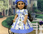 Delicate Pansy - dress & beret for American Girl doll with shoes