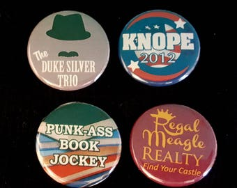 Parks & Rec Pin - CHOOSE ONE - Duke Silver, Knope 2012, Book Jockey, Regal Meagle