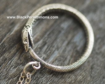 Oxidized Ouroboros Snake Sterling Silver Ring Necklace - Solid 925 Sterling Silver - Insurance Included