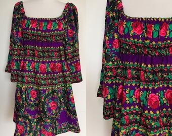 Rare 70s Boho Hippie Mini Dress