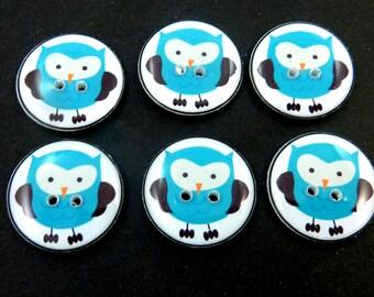 6 Blue Owl Sewing Buttons.  Handmade Buttons.