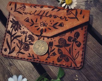 Leather Wildflower Wallet | Handmade | Designed by Katie Daisy
