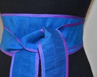 Vintage 90s Deadstock Thai Silk Obi sash cinch  Belt.  Electric Blue pastel iridescent purple lavender. One Size