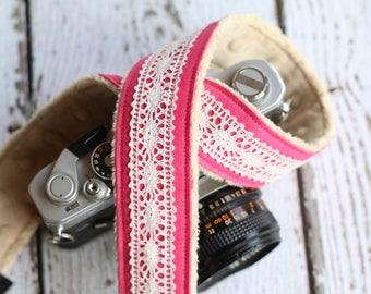 Camera Strap, dSLR Camera Strap, Vintage Camera Strap, Canon or Nikon Camera, Photographer Gift - Pink Linen Lace
