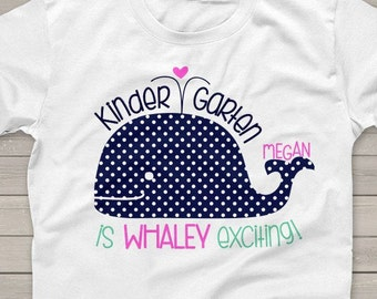 Kindergarten t-shirt back to school whaley exciting any grade school shirt - great for first day or any school day  MSCL-048