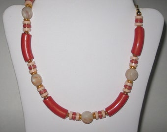 Coral Orange Beaded Chunky Necklace Choker Beach Jewelry Vintage