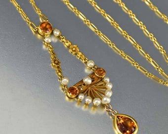 Edwardian 14K Gold Citrine Necklace | Pearl Lavaliere Pendant | Edwardian Necklace | 1900s Antique Necklace Dainty Lavalier Vintage Jewelry
