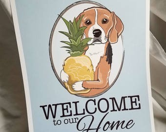 Pineapple Beagle Welcome Print - Eco-Friendly 5x7 Print