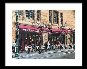 Parc Bistro Cafe Restaurant, Philadelphia Print, Rittenhouse Square, Philly painting, Cafe Art, French Parisian Cafe by Gwen Meyerson