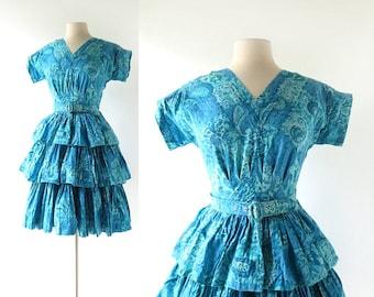 1960s Blue Dress | Tsunami Wave | Tiered Skirt Dress | 60s Dress | Small S