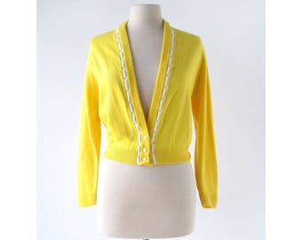 Vintage 1950s Cardigan | Yellow Cardigan | 50s Sweater | S M