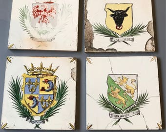 Vintage PORCELAIN TILES- Desvres Made in France- Shield- Crown- Royalty- Hand Painted- Bordeaux- Set of 4- Damaged French Country- C34