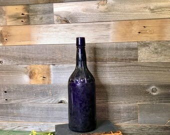 Large PURPLE BOTTLE- Antique Amethyst Glass Liquor Bottle- Purple Wedding Decor Centerpiece- Farmhouse Kitchen- B57